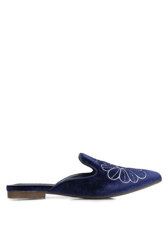 Velvet blue Embroidered Velvet Mules 845CAZZ6713A1FGS_1