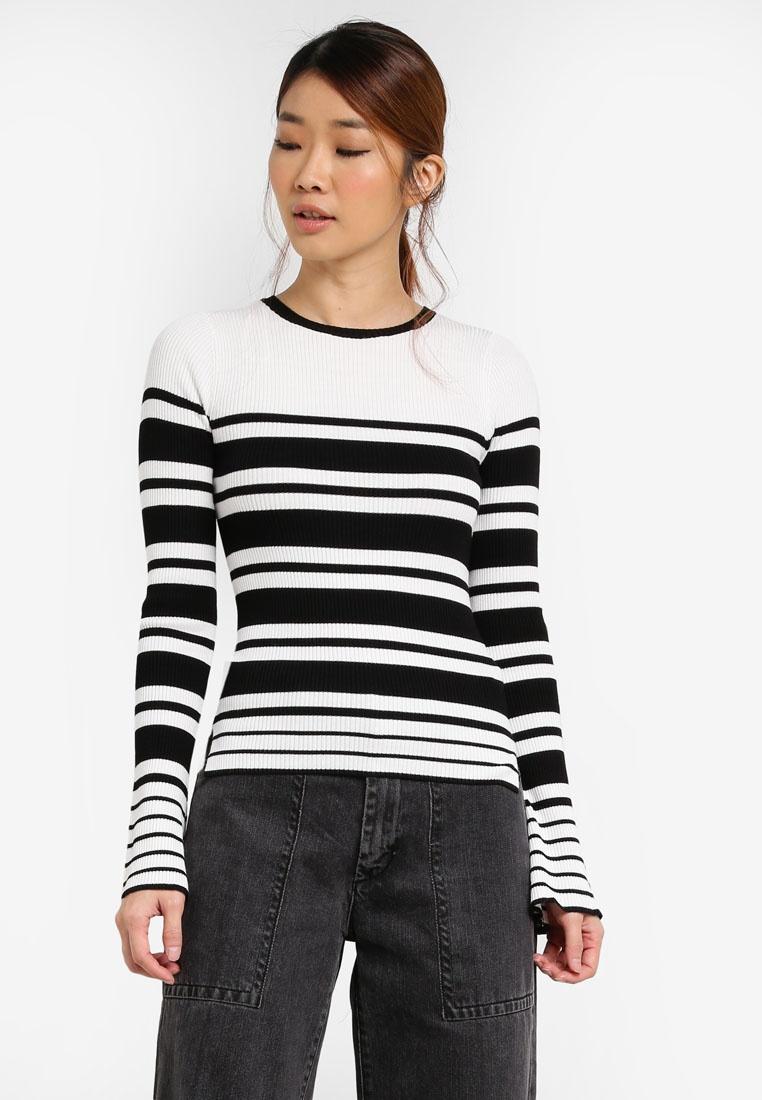 Rib Selfridge Black Flute White Sweater Stripe Sleeve Miss 1EqwBH