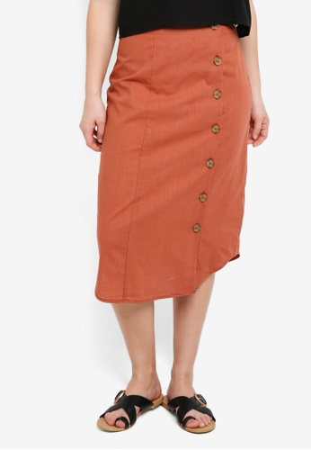 Cotton On brown Woven Kelly Side Button Midi Skirt 82D63AAFD1B382GS_1