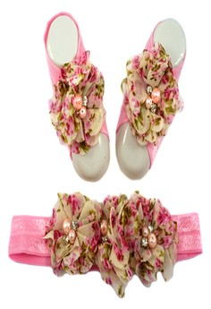 Baby Headband and Barefoot Sandals (Floral Printed) PinkSet 0mons+