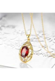 Treasure by B&D N096-A Elegant Oval Ruby Inlay Carved Pendant Plated Necklace