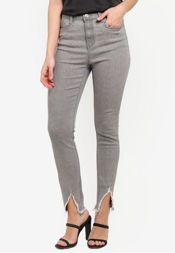 MISSGUIDED grey Sinner Nibble Hem Skinny Jeans C2317AA984143BGS_1
