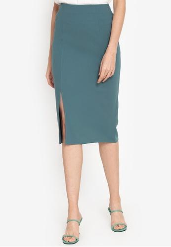 ZALORA WORK green Side Split Midi Skirt CCE18AA7E123E5GS_1