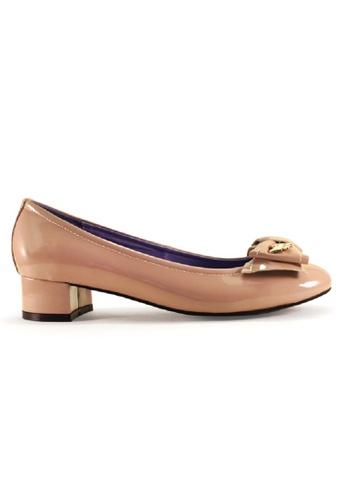 Gripz beige Cute Round Toe Patent Block Heels GR357SH98IRHSG_1