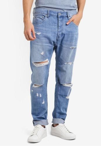CR7 藍色 Type T刷破窄管牛仔褲 CR532AA80EFNMY_1
