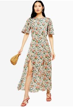 9ca3716ba5d TOPSHOP blue and multi Austin Floral Daisy Print Angel Sleeve Dress  1DF7CAA0B5CE45GS_1