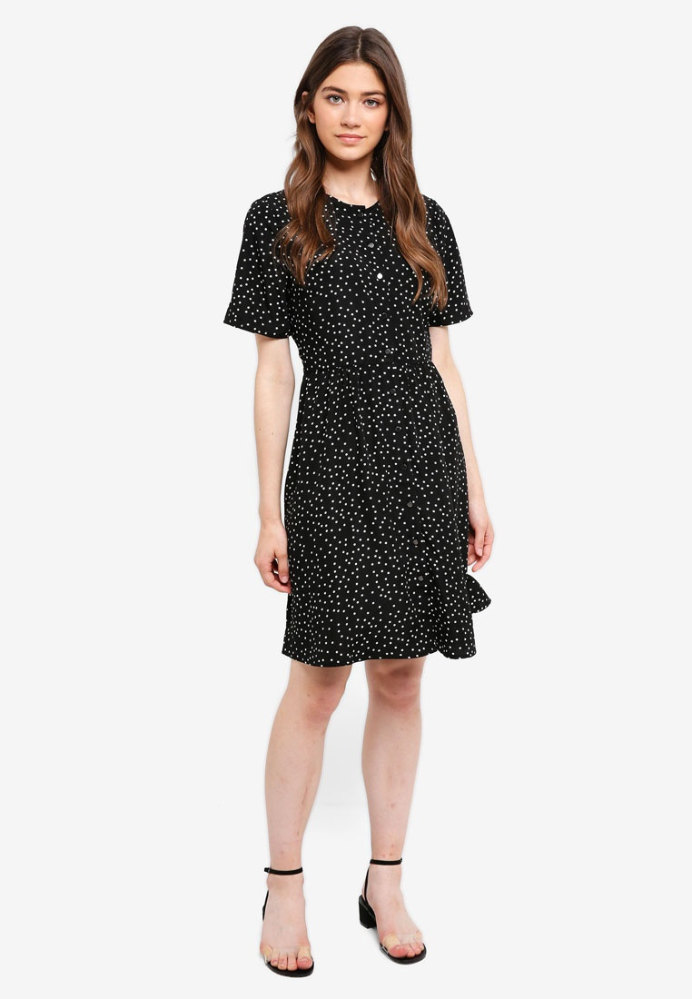 Dots Black Buttoned Dress Borrowed Down Something Polka gwZqC6vOq
