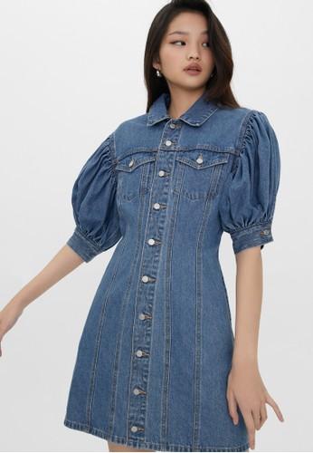 Pomelo blue Sustainable Button Up Puff Dress - Blue E9324AA6826D3DGS_1