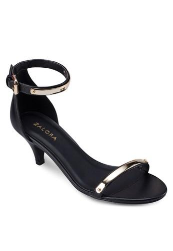金飾zalora 衣服尺寸露趾繞踝低跟鞋, 女鞋, 中跟