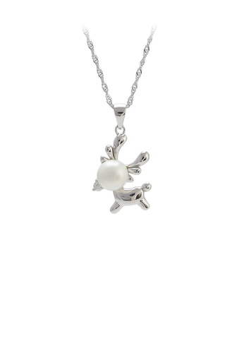 Glamorousky white 925 Sterling Silver Simple Cute Elk White Freshwater Pearl Pendant with Necklace EC84EAC0BDBE3BGS_1