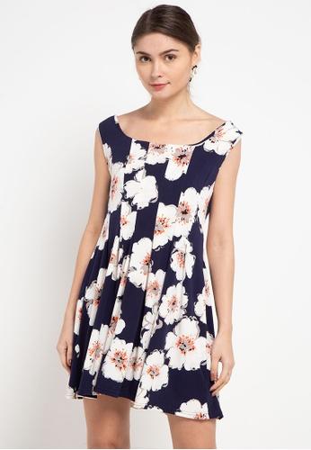 CHANIRA LA PAREZZA white and navy Chanira La Parezza Lia Flower Print Mini Dress D5DEEAAED6869FGS_1