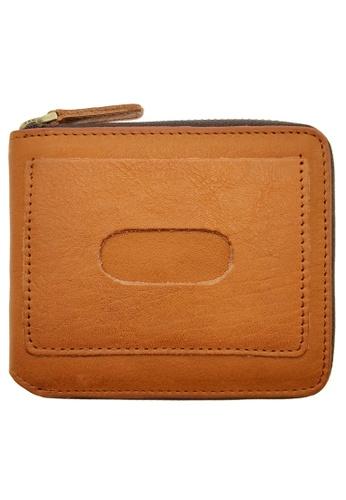 LUXORA brown The Ninja Co. Top Grain Leather Billfold Zip Wallet Card Purse Brown 2E214ACCC1CF80GS_1