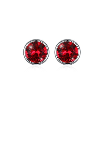 Glamorousky red 925 Sterling Silver Simple Round Stud Earrings with Red Austrian Element Crystal FEDADAC7254FA3GS_1
