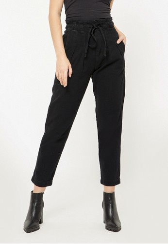COLORBOX black Paperbag Denim Pants F8706AAA71A65DGS_1