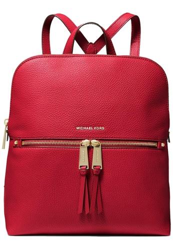 Michael Kors red Michael Kors Rhea Medium Slim Leather Backpack Bag in Bright Red 17CA5AC2900765GS_1