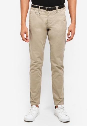 ESPRIT 米褐色 腰帶直筒褲 E1DE9AA137E317GS_1
