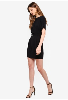 a9061e42a3ab 5% OFF Boohoo Petite Turn Up Sleeve Waist Woven Shift Dress RM 89.00 NOW RM  84.90 Sizes 6 8 10 12