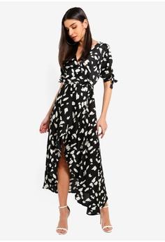 6b1d340eec7e AX Paris black Black Wrap Around Print Midi Dress 2B337AA78581FDGS 1
