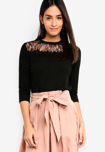 ZALORA black Lace Panel Jumper CBDE0AA367D19DGS_1