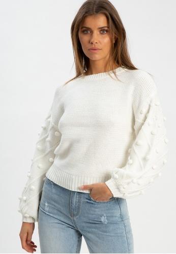 The Fated white Oslo Pom Pom Knit Jumper 0FA7AAA4B480E7GS_1