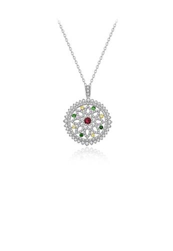 Glamorousky 白色 時尚優雅幾何鏤空花紋吊墜配鋯石及項鏈 0A247AC2F79010GS_1