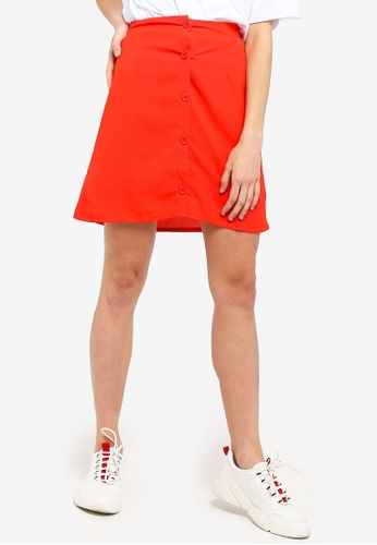 Something Borrowed red Buttoned Down A-Line Skirt EDFA1AA8705102GS_1