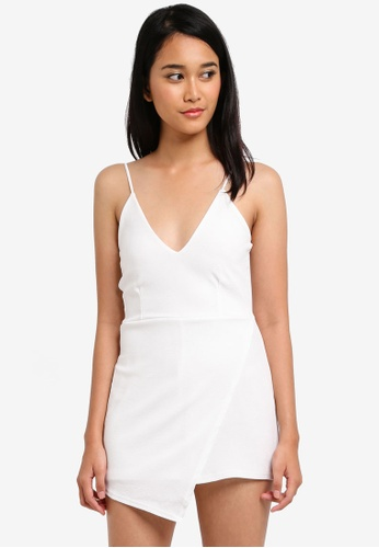 MISSGUIDED white Strappy Crepe Wrap Skort Playsuit 9FAD8AAD172358GS_1