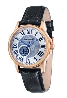 Thomas Earnshaw男裝黑色皮革手錶