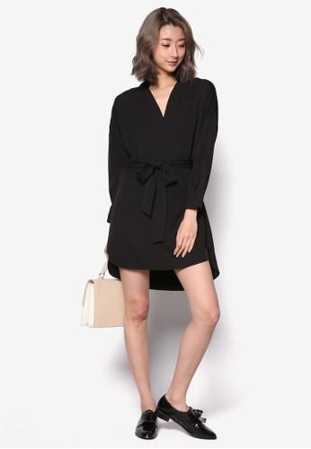 裹飾繫帶長袖洋裝,zalora鞋子評價 服飾, 簡約優雅風格