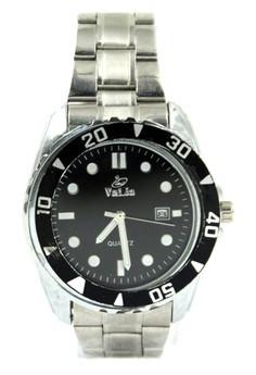 Valia Lane Unisex Black Stainless Steel Strap Watch 8168