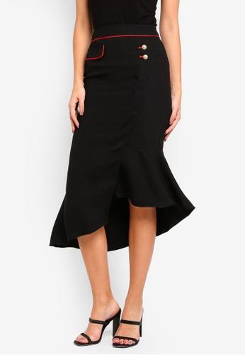 bYSI black Asymmetrical Flounce Skirt 98904AA4733FF8GS_1