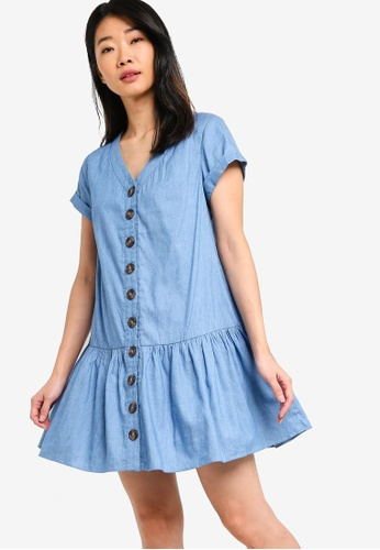 Something Borrowed blue Button Down Ruffles Hem Babydoll Dress 6DA3CAAF0608B7GS_1