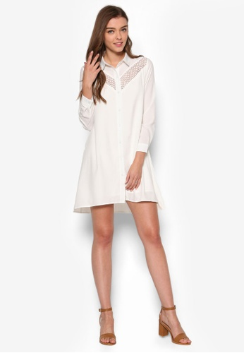 57e789293f3 Buy ZALORA Love Lace Insert Shirt Dress | ZALORA HK