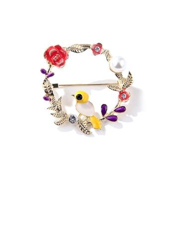 Glamorousky white Fashion Temperament Plated Gold Enamel Bird Wreath Imitation Pearl Brooch with Cubic Zirconia 03CFEAC1F630F2GS_1