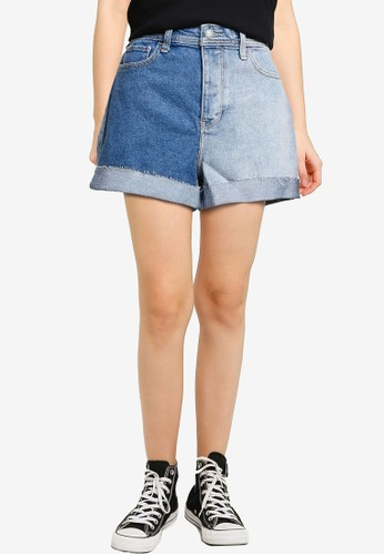 Hollister blue Ultra High Rise Mom Double Roll Jean Shorts F6D82AA1BD6CDAGS_1