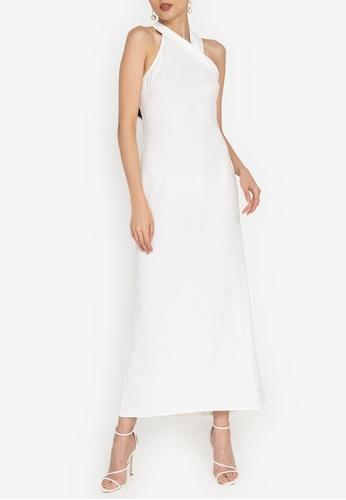 ZALORA OCCASION white Halter Maxi Dress 9879DAA457E325GS_1
