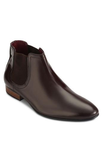 側彈性帶切爾西皮革短靴, 鞋, zalora 心得 ptt鞋