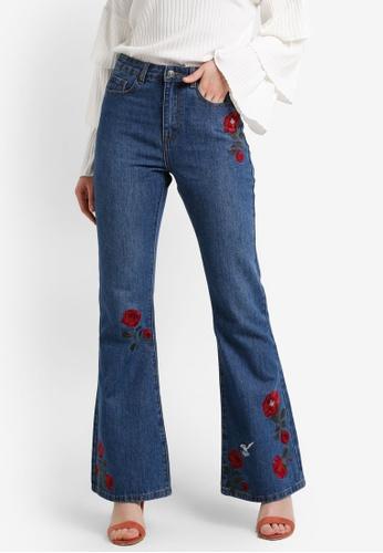Zalia blue Floral Embroidery Boot-Cut Jeans 02E7EZZC9A13B4GS_1