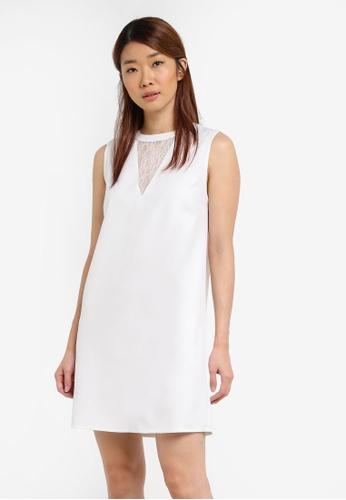 Something Borrowed white Lace Panel Sleeveless Shift Dress 27E68AA45DCFADGS_1