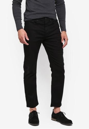 Burton Menswear London 黑色 直筒修身牛仔褲 CF148AA6FA98EEGS_1