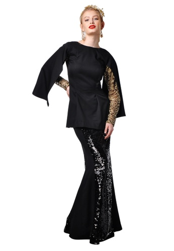 Adeline Cape Sleeved Baju Kurung from Limkokwing Fashion Club in Black