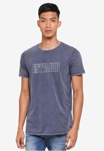 Cotton On 海軍藍色 長版印花T恤 2531EAAA86359FGS_1