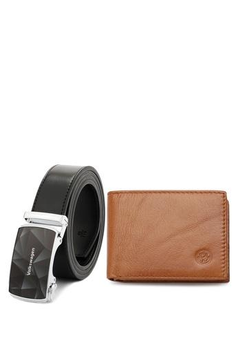 Volkswagen black and brown Men's Genuine Leather RFID Blocking Wallet & 40mm Automatic Belt Buckle 315FFAC102016BGS_1