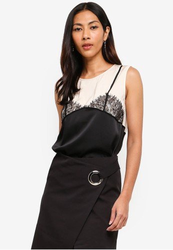 Hopeshow black Sleeveless Blouse With Lace Accents A06D0AA477367FGS_1