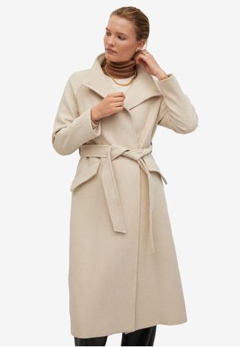 Mango beige Sashed Wool Coat EDDE2AACC75B18GS_1
