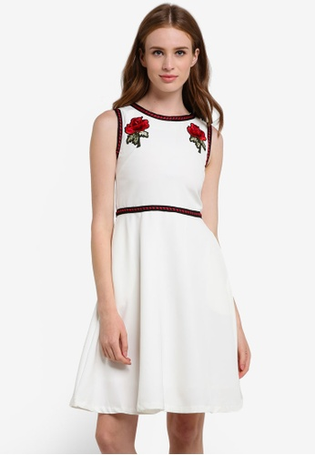 Megane white Jesenia Flower Patched Dress ME617AA0REJGMY_1