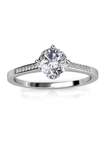 Her Jewellery silver Swarovski® Crystals - Princess Ring (18K White Gold Plated) Her Jewellery HE581AC0RAYVMY_1