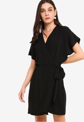 ZALORA black Overlap Dress 1075CAA4BBB742GS_1