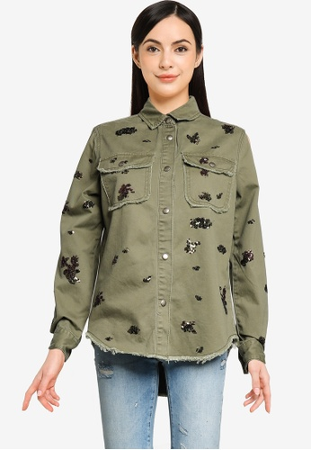Desigual green Cotton Sequins Shirt DEA10AAFA26AABGS_1