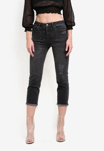 Miss Selfridge black Petite Diamante Mom Jeans MI665AA0S6FRMY_1